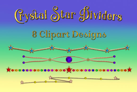 Print on Demand: Crystal Star Dividers Clipart Designs Graphic Objects By SapphireXDesigns
