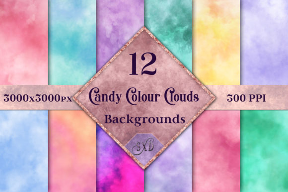 Print on Demand: Candy Colour Clouds - 12 Background Images Graphic Backgrounds By SapphireXDesigns