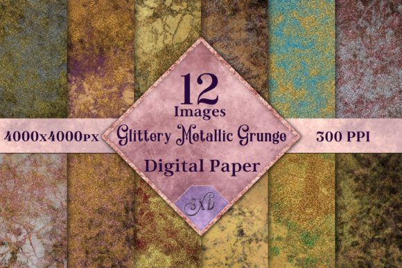 Print on Demand: Glittery Metallic Grunge Backgrounds - 12 Image Set Graphic Backgrounds By SapphireXDesigns