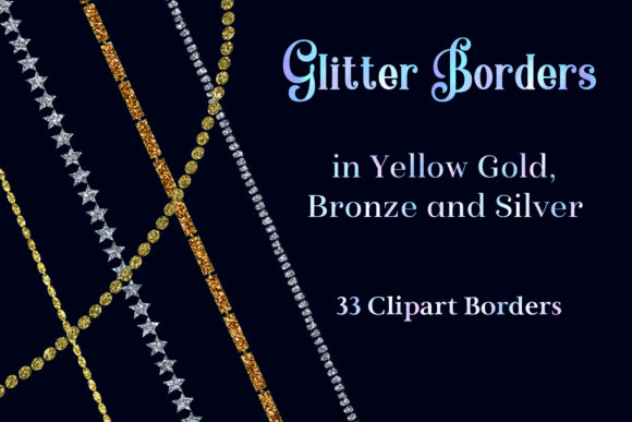 Print on Demand: Glitter Borders in Yellow Gold, Bronze and Silver - 33 Clipart Borders Graphic Objects By SapphireXDesigns - Image 1