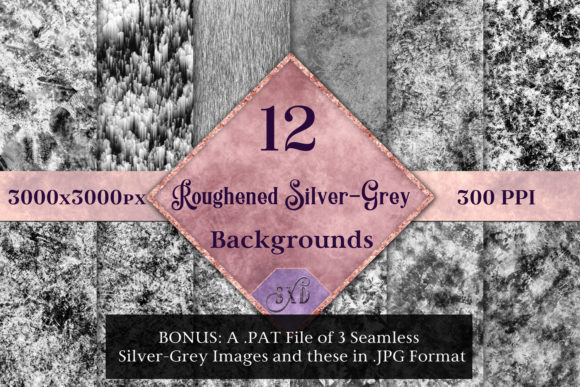 Print on Demand: Roughened Silver-Grey - 12 Background Images Graphic Backgrounds By SapphireXDesigns - Image 1