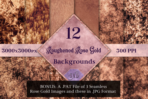 Print on Demand: Roughened Rose Gold - 12 Background Images Graphic Backgrounds By SapphireXDesigns