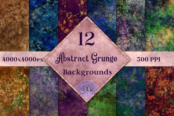 Print on Demand: Abstract Grunge - 12 Images with a Hint of Gold Graphic Backgrounds By SapphireXDesigns