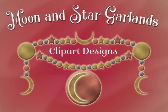Print on Demand: Moon and Star Garlands Clipart Designs Graphic Objects By SapphireXDesigns