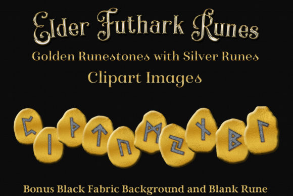 Print on Demand: Elder Futhark Runes Clipart - Golden Runestones with Silver Runes Graphic Objects By SapphireXDesigns