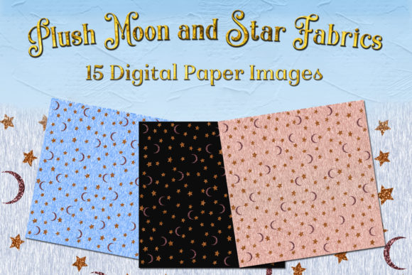 Print on Demand: Plush Moon and Star Fabric Images - 15 Digital Images Graphic Backgrounds By SapphireXDesigns