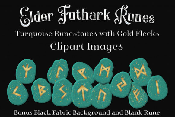 Print on Demand: Elder Futhark Runes Clipart - Turquoise Runestones with Gold Flecks Graphic Objects By SapphireXDesigns