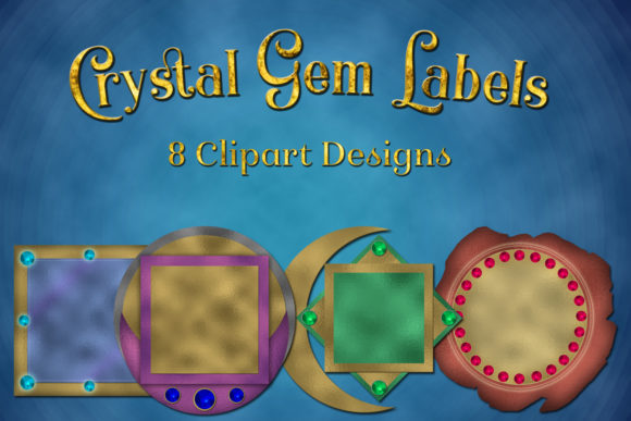 Print on Demand: Crystal Gem Labels Clipart Designs Graphic Objects By SapphireXDesigns
