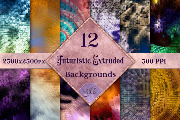 Futuristic Abstract Extruded Backgrounds - 12 Image Set Graphic By SapphireXDesigns