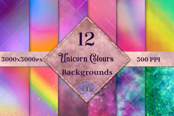 Print on Demand: Unicorn Colours Backgrounds - 12 Image Set Gráfico Fondos Por SapphireXDesigns