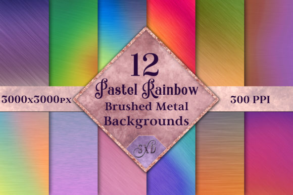 Print on Demand: Pastel Rainbow Brushed Metal-Style Backgrounds - 12 Image Set Graphic Backgrounds By SapphireXDesigns