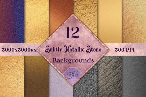 Print on Demand: Subtly Metallic Stone Backgrounds - 12 Image Set Graphic Backgrounds By SapphireXDesigns
