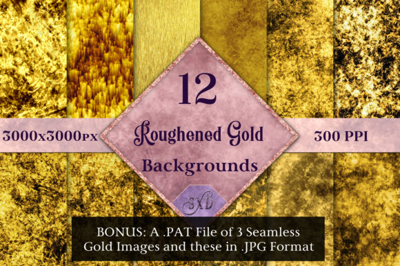 Print on Demand: Roughened Gold - 12 Background Image Set Graphic Backgrounds By SapphireXDesigns