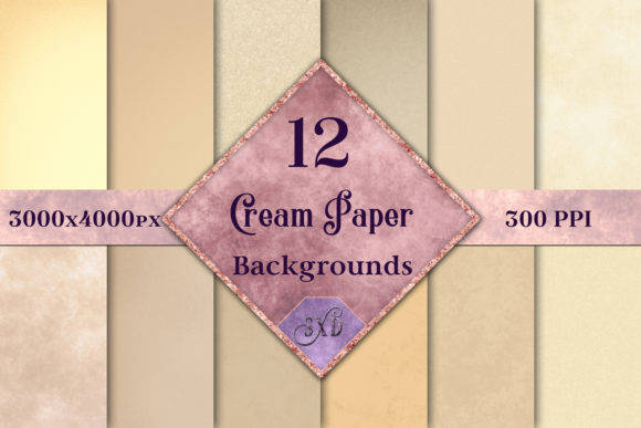 Print on Demand: Cream Paper Backgrounds - 12 Image Set Graphic Backgrounds By SapphireXDesigns