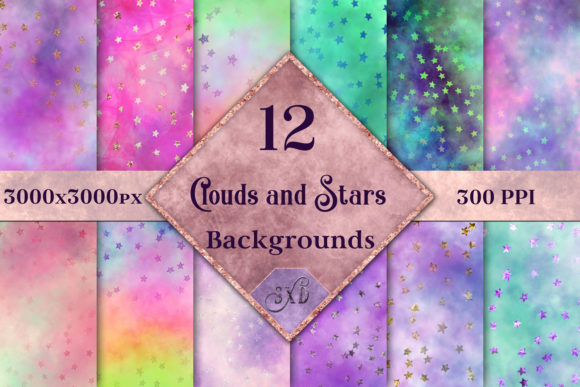 Print on Demand: Clouds and Stars Backgrounds - 12 Image Set Graphic Backgrounds By SapphireXDesigns