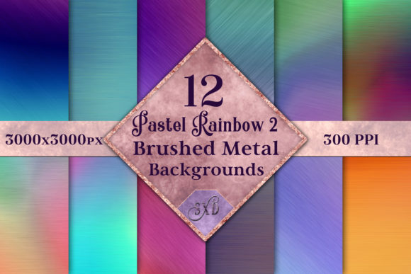 Print on Demand: Pastel Rainbow 2 - Brushed Metal Style Backgrounds - 12 Image Set Graphic Backgrounds By SapphireXDesigns