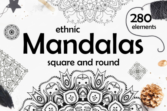 280 Ethnic MANDALAS Square and Round Graphic Objects By tregubova.jul