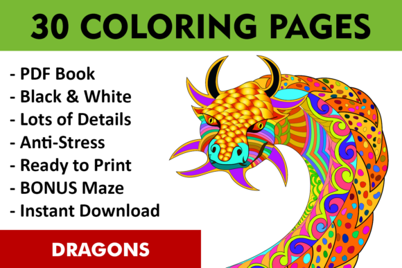 Download Free 30 Dragons Adult Coloring Pages Instant Download Coloring Book for Cricut Explore, Silhouette and other cutting machines.