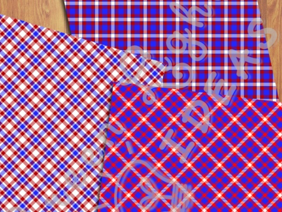 4th of July Plaid Digital Papers