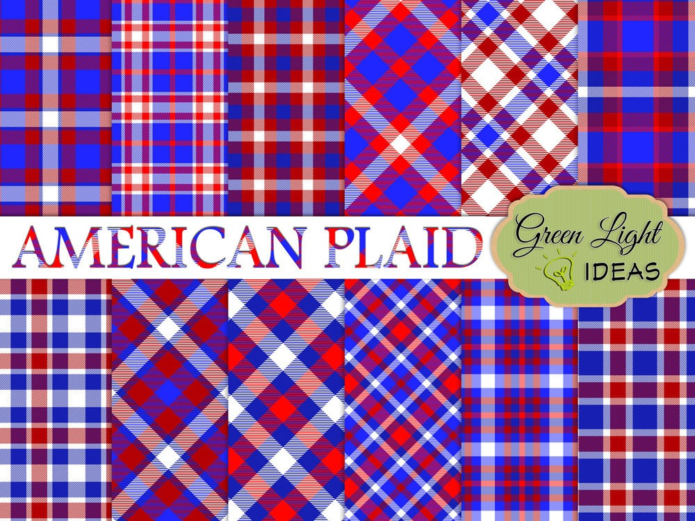 Download Free 4th Of July Plaid Digital Papers Graphic By Greenlightideas for Cricut Explore, Silhouette and other cutting machines.