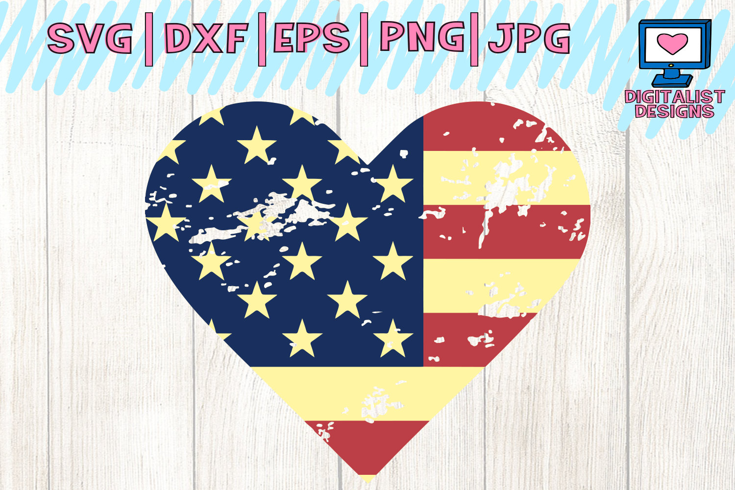 Download Free 4th Of July American Heart Svg Graphic By Digitalistdesigns for Cricut Explore, Silhouette and other cutting machines.