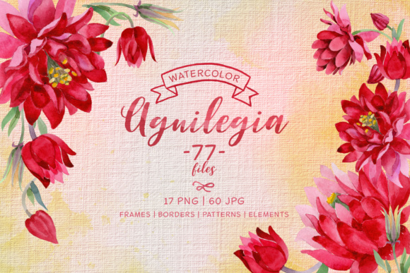 Print on Demand: Aguilegia Cool Flower Watercolor Set Graphic Illustrations By MyStocks