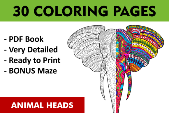 Animal Heads Coloring Pages Graphic Coloring Pages & Books Adults By ColoringBooks101