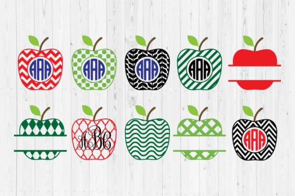 Download Free 3 Apple Monogram Svg Designs Graphics for Cricut Explore, Silhouette and other cutting machines.