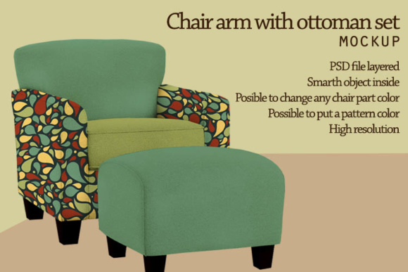 Armchair with Ottoman Mock Up Graphic Product Mockups By gumacreative