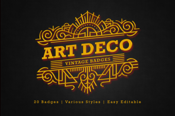 Art Deco - Vintage Badges Graphic Objects By Arterfak Project