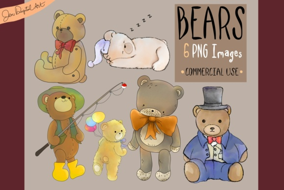 Assorted Bears Graphic Illustrations By Jen Digital Art