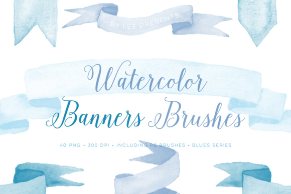 Banners Photoshop Brushes and Bonus Blue PNG Files Graphic Brushes By By Lef - Image 1