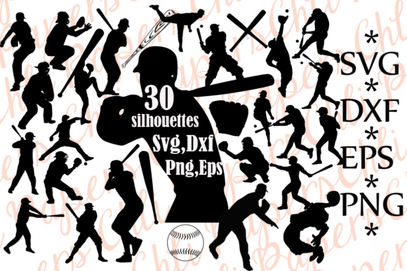 Baseball Silhouette Graphic Crafts By ChiliPapers
