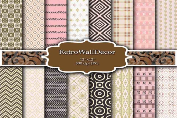 Print on Demand: Beige Digital Papers Graphic Backgrounds By retrowalldecor