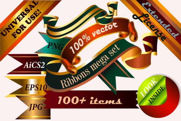 Big Pack of Vector Ribbons Graphic Objects By fleurartmariia