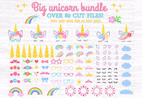 Download Free Big Unicorn Bundle Graphic By Magicartlab Creative Fabrica for Cricut Explore, Silhouette and other cutting machines.