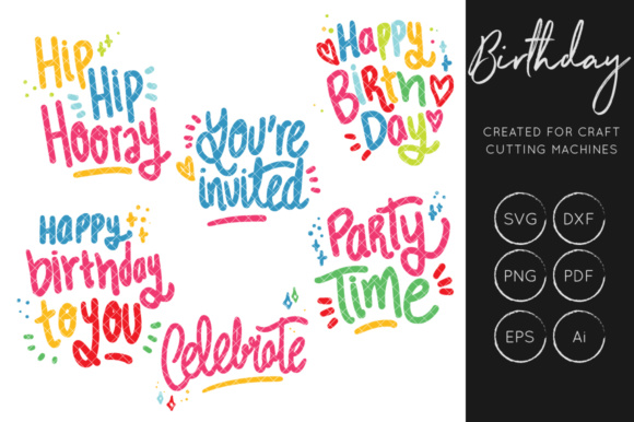 birthday hand lettering bundle graphics