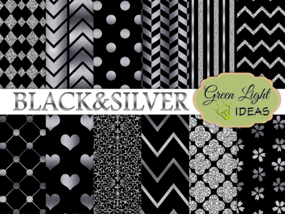 Black and Silver Digital Papers Graphic Backgrounds By GreenLightIdeas