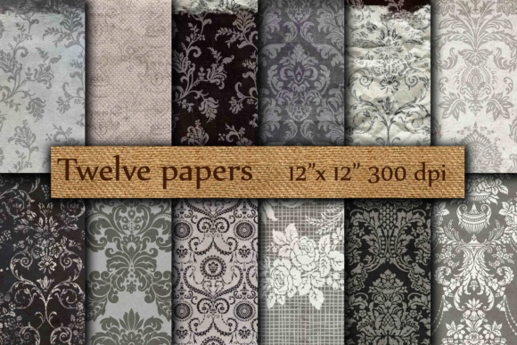 Black White Damask Graphic By twelvepapers