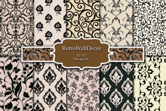 Print on Demand: Black and White Digital Paper Pack Graphic Backgrounds By retrowalldecor