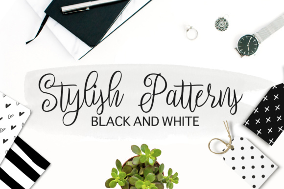 Black and White Stylish Seamless Patterns Gráfico Moldes Por switzershop