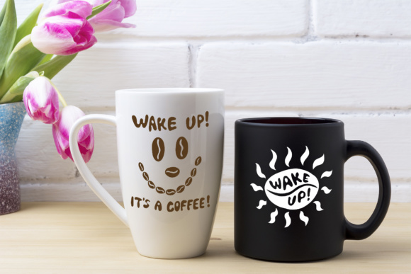 Print on Demand: Black Coffee Cup and White Cappuccino Mug Mockup Graphic Product Mockups By TasiPas