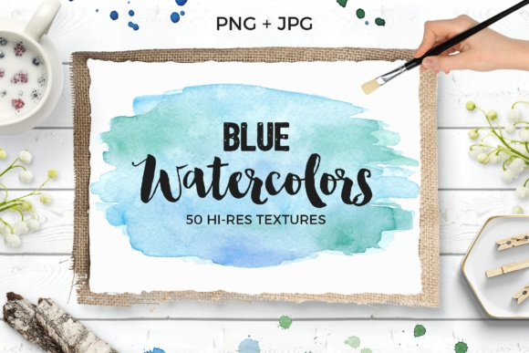 Blue Watercolor Textures Pack Graphic Textures By switzershop