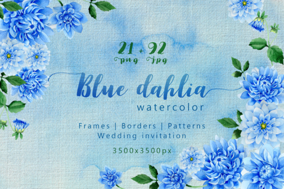 Print on Demand: Blue Dahlia Great Flowers PNG Watercolor Set Gráfico Ilustraciones Por MyStocks