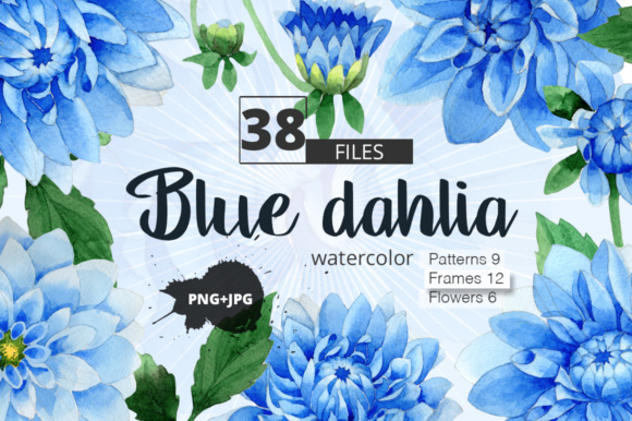 Print on Demand: Blue Dahlia Watercolor Clipart Graphic Illustrations By MyStocks