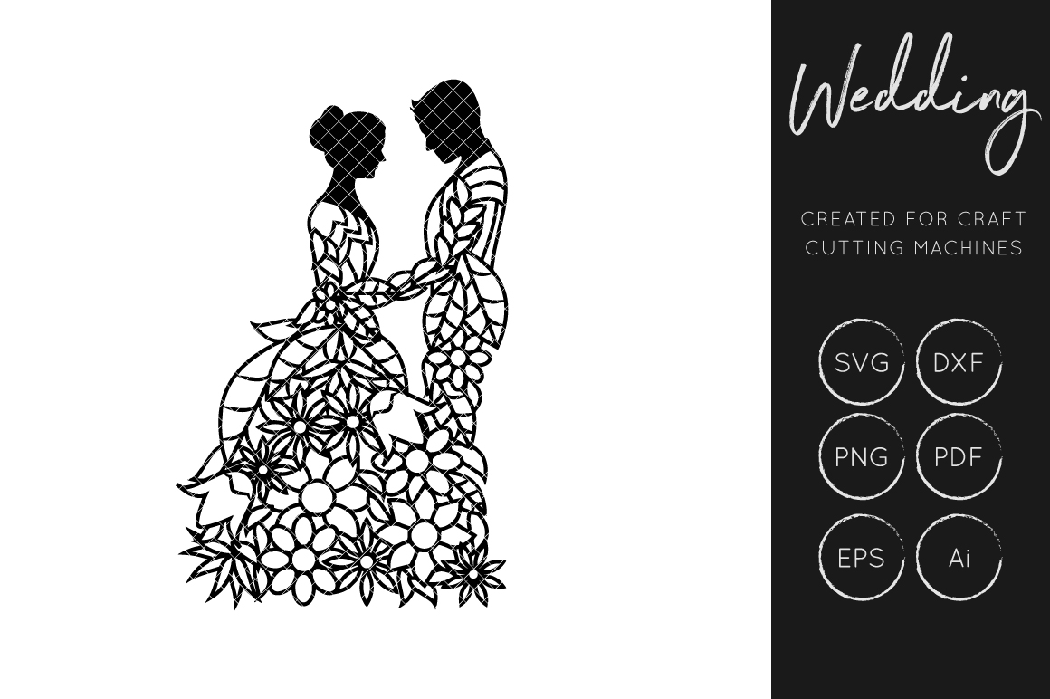 Download Free Bride And Groom Svg Cut File Graphic By Illuztrate Creative for Cricut Explore, Silhouette and other cutting machines.