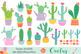 Cactus Clipart / Cacti Plants Clip Art / Cute Potted Cactuses Vector Graphics / Cactus Illustrations Graphic By VR Digital Design