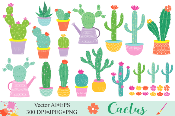 Cactus Clipart / Cacti Plants Clip Art / Cute Potted Cactuses Vector Graphics / Cactus Illustrations Graphic Illustrations By VR Digital Design