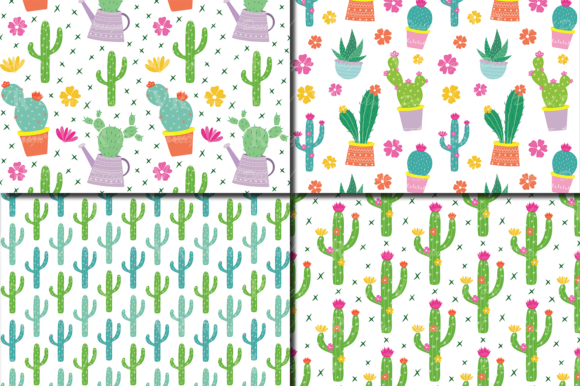 Download Free Cactus Digital Paper Cute Cacti Plants Seamless Patterns for Cricut Explore, Silhouette and other cutting machines.