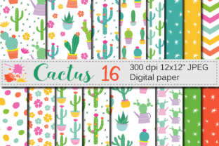 Cactus Digital Paper / Cute Cacti Plants Seamless Patterns / Bright Potted Cactuses Scrapbook Papers Graphic By VR Digital Design
